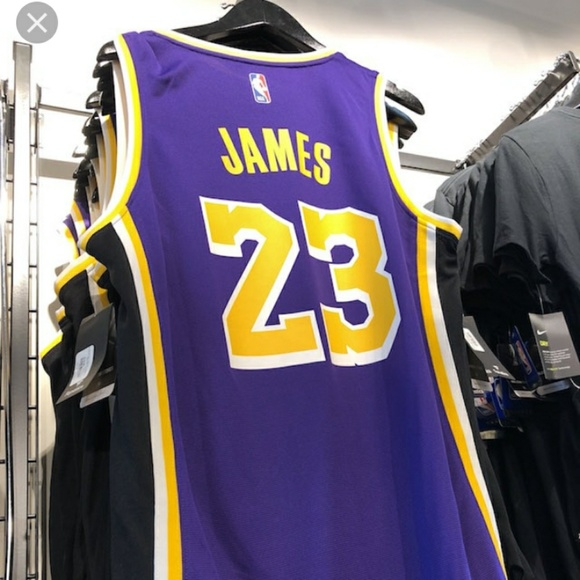 new product 21377 c6653 LAKERS #23 LEBRON JAMES PURPLE DRY FITJERSEY NWT